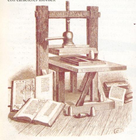 invención de la imprenta por Johannes Gutenberg