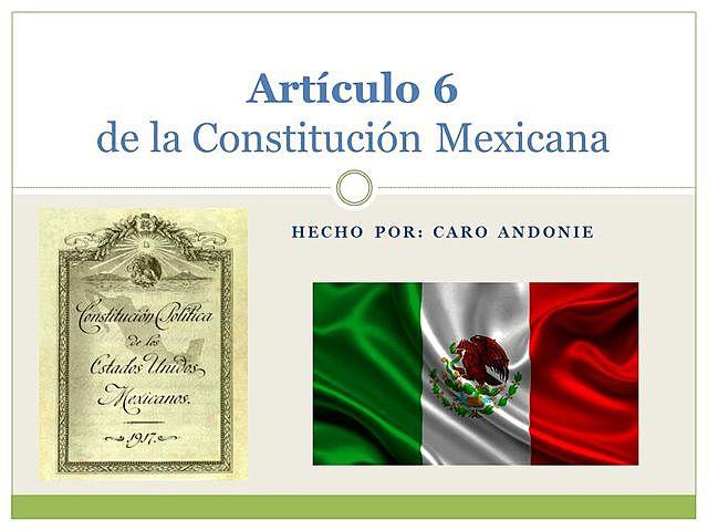 Publicación en el Diario Oficial de la Federación, otra reforma al artículo 6° constitucional.