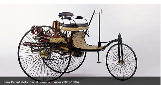 Primer automovil:En 1885, Karl Benz desarrolla el primer automóvil de combustión interna que tenía forma de triciclo. Estaba equipado de un pequeño motor de cuatro monocilíndrico y contaba con un carburador y refrigeración por agua.