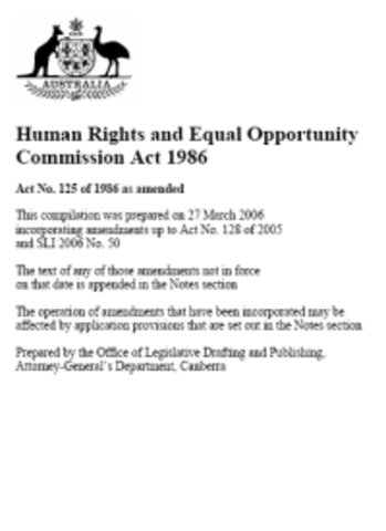 Human Rights and Equal Opportunity Commission Act 1986