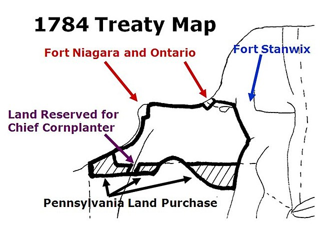 Treaty of Fort Stanwix forces the Iroquois to give up land in New York and Pennsylvania.