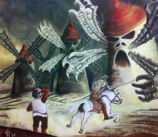 Don Quijote lucha contra los molinos de viento