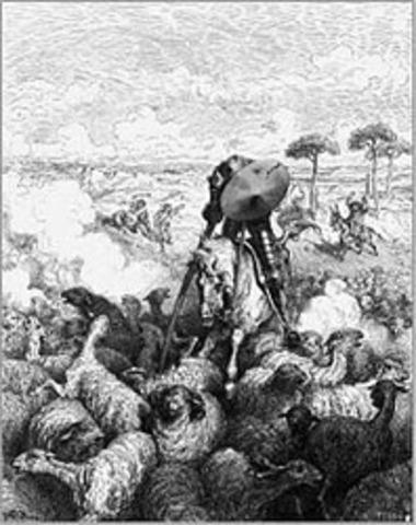 Don Quijote contra el rebaño de ovejas