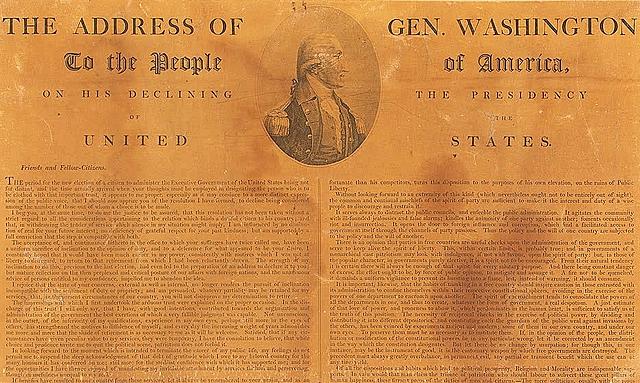 President Washington delivers his farewell address.