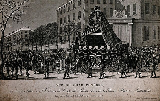 The transfer of the coffins of King Louis XVI of France and his wife, Marie Antoinette, to the church St. Denis in Paris.