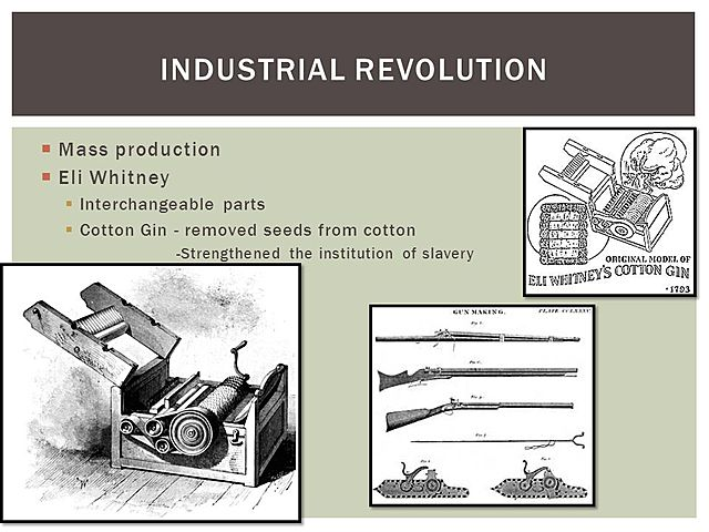 Cotton Gin and Interchangeable Parts Invented by Eli Whitney