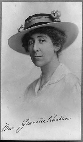 Jeanette Rankin of Montana is the first woman elected to the U.S. House of Representatives.