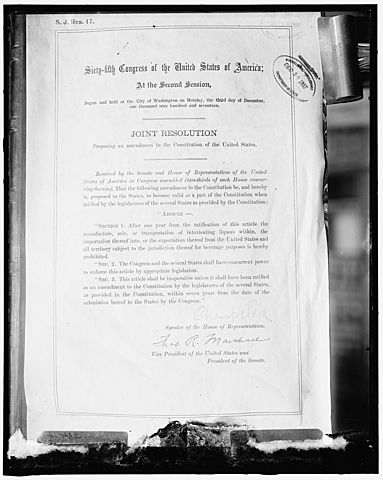 Eighteenth Amendment to the Constitution is ratified