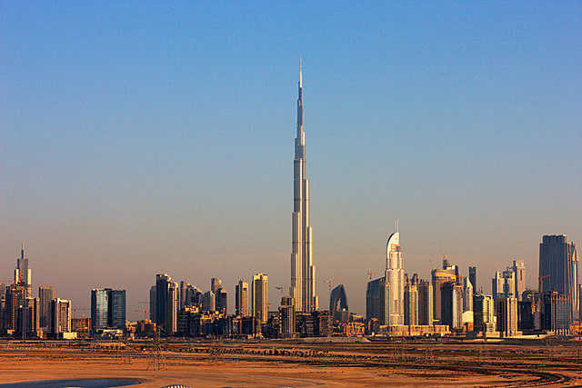 The tallest building in Dubai is completed.