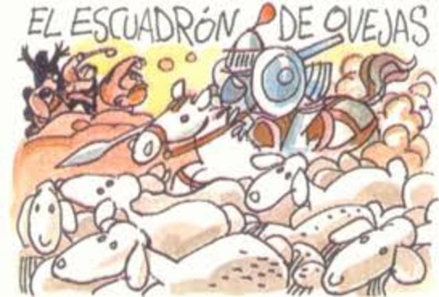 batalla de Don Quijote contra el ejercito del emperador Alifalfaron de la Tropolana