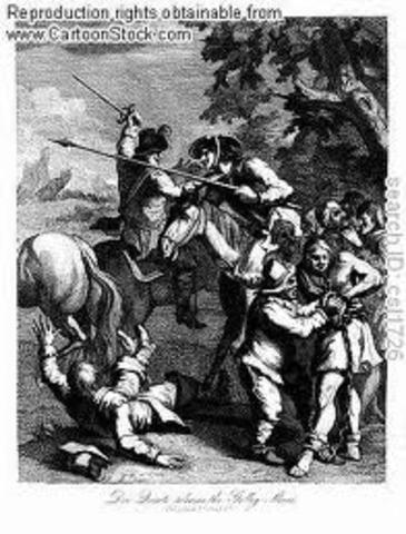 Don Quijote lucha contra un barril de vino dormido