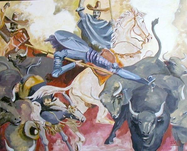 El Quijote de la Mancha y la aventura de los toros