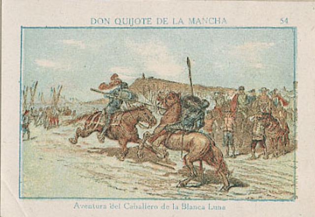 Don Quijote lucha contra el Caballero de la Luna Blanca