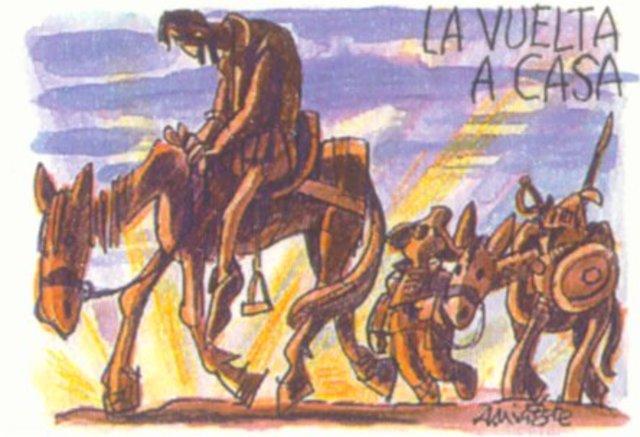 Don Quijote y Sancho Panza devuelta en casa