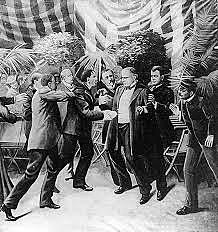 William McKinley assassinated by anarchist Leon Czolgosz