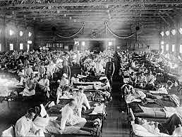 Worldwide Spanish flu epidemic strikes (20 million dead worldwide and 500,000 in the US)