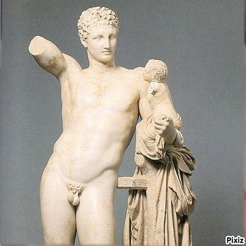 Hermes de Olimpia con Dionisio niño. (Praxíteles). Escultura.