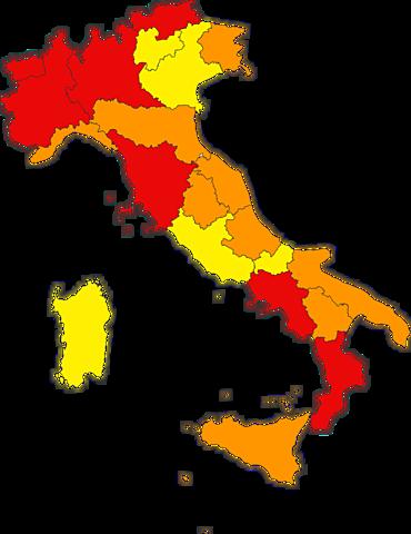Italia: zona rossa, arancione e gialla