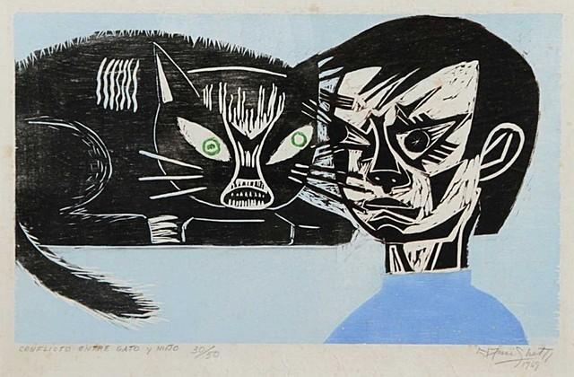 """Francisco Amighetti - Obra """"Conflicto Entre Gato Y Niño"""""""