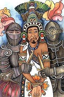 The Spanish took Moctezuma Xocoyotzin prisoner inside his palace.