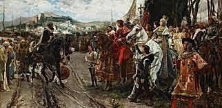 the last Islamic stronghold in Spain is defeated at Granada.