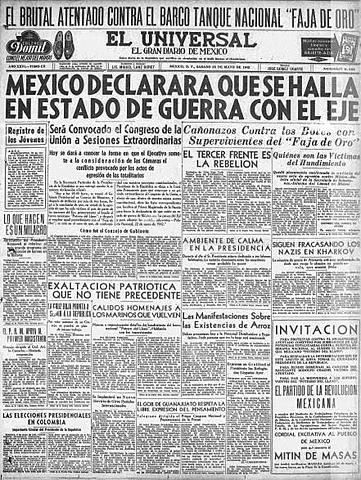 México se declara en estado de guerra contra las potencias del Eje