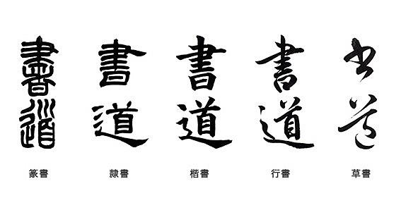 Caligrafía china administrativa, de hierba, regular y corrida.