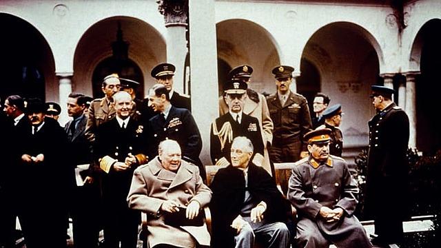 Roosevelt, Stalin, and Churchill meet at Yalta