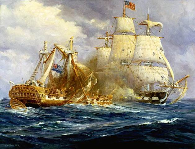 The USS Constitution defeats the HMS Guerriere