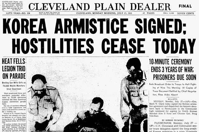 Korean War ends in an Armistice