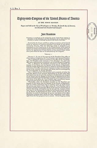 Twenty-Fifth Amendment to the Constitution is ratified