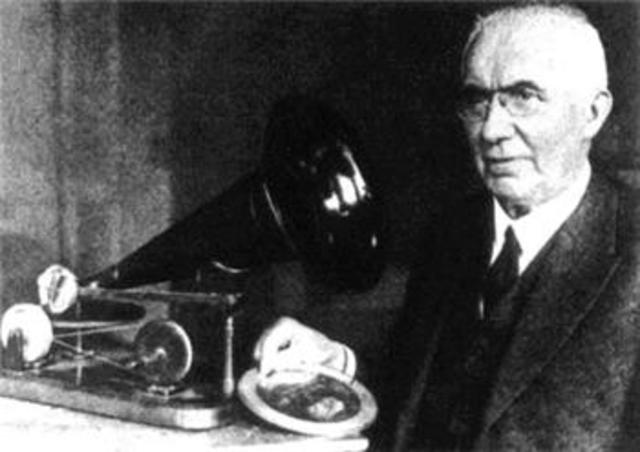 1877 - Emile Berliner invents the first microphone and sells the rights to Bell Telephone
