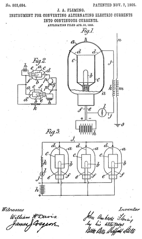 """John Ambros Fleming makes the first vacuum tube called a """"valve"""""""