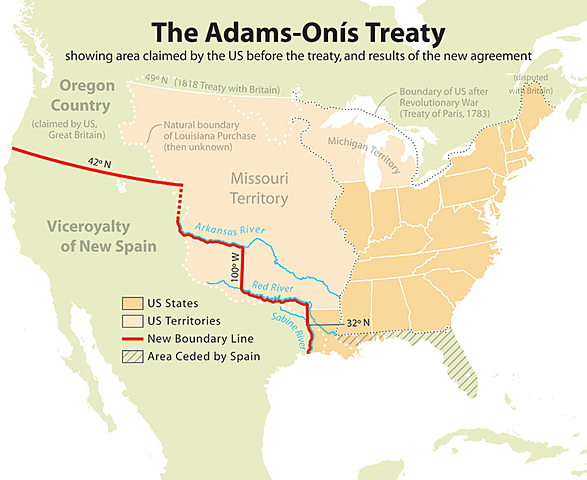 United States and Spain agree to the Transcontinental (Adams-Onis) Treaty.