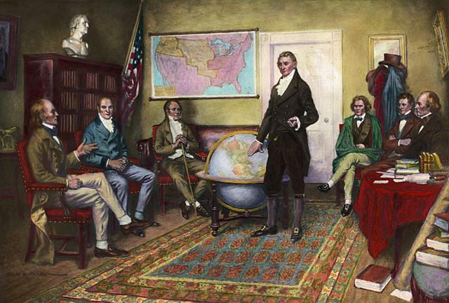 President Monroe enunciates the principles of the Monroe Doctrine.