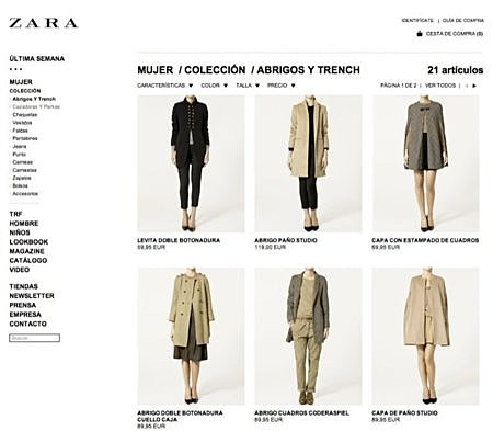 Nuevas tiendas online, como Zara