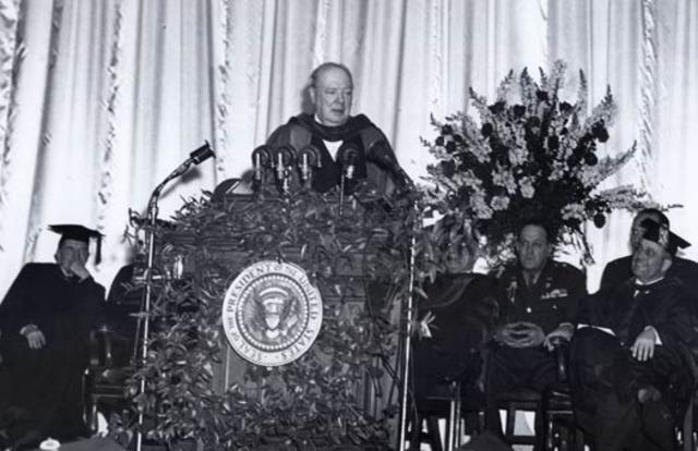 Winston Churchill delivers his 'Iron Curtain' speech