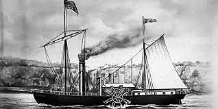 Primera línea comercial con barcos propulsados por vapor