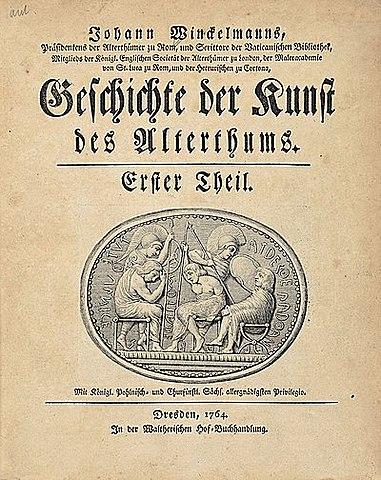 """Publicación de """"Kunst des Altertums"""" [Historia del arte de la Antigüedad]."""