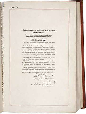 Twenty-First Amendment to the Constitution is ratified