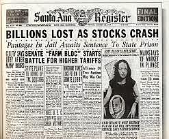 Stock market Crash of 1929 marks the beginning of the Great Depression