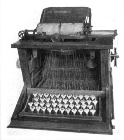 Christopher Latham Sholes of Danville, PA and his colleagues, Carlos Glidden and           Samuel Soulé developed the first practical typewriter