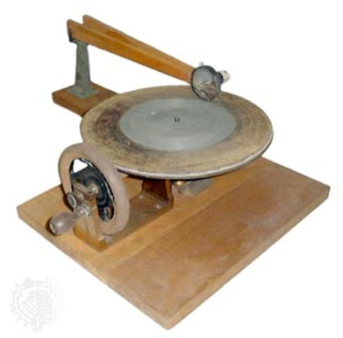 """- Emile Berliner invents the flat record player (""""gramophone"""") using acoustic horn            and licenses technology to record companies"""