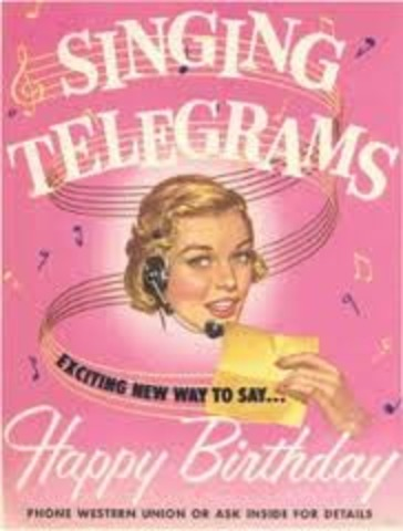 """Western Union introduces the first """"singing telegram"""" service"""