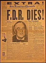 Franklin Delano Roosevelt dies and Harry Truman succeeded him as President