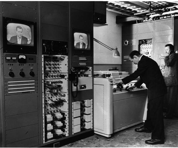ampex Co. of Redwood City, CA demonstrated the first videotape system