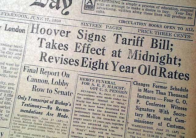 •Smoot-Hawley Tariff (1930)