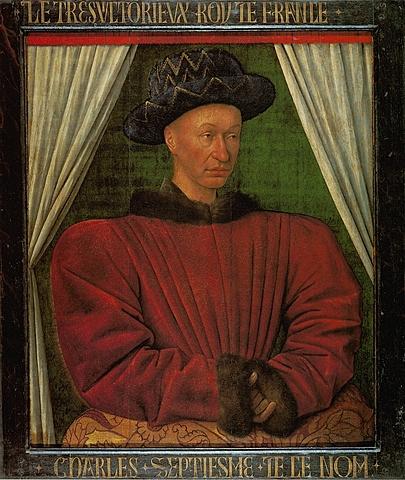 Retrato de Carlos VII por Jean Fouquet.