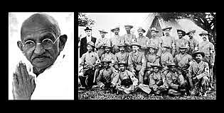 Ghandi organizes a group of men during the Boer War