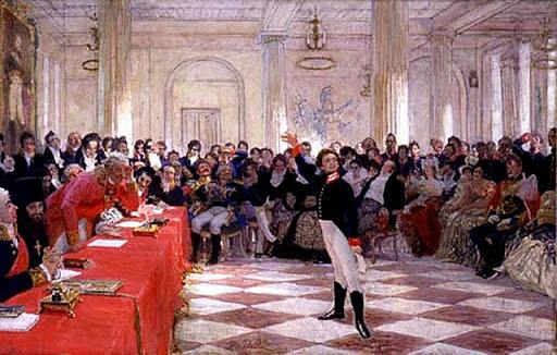 Пушкин читает стихотворение на экзамене